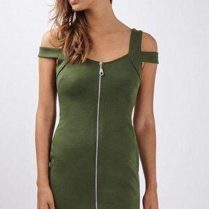 Zip Front Bardot dress Olive Green Size 4